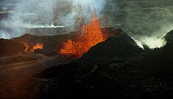 Aerial photo of an erupting volcano