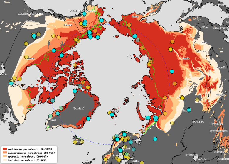 Locations for CO2 and methane flux measurements (eddy covariance and chambers) across the northern permafrost zone