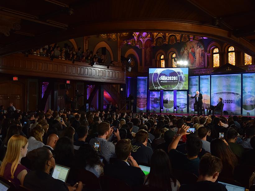 Vermont senator Bernie Sanders speaks at Georgetown University's Climate Forum.