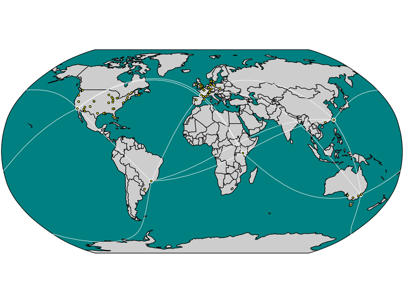 Locations of researchers who participated in creating the first version of the Paleoclimate Community Reporting Standard