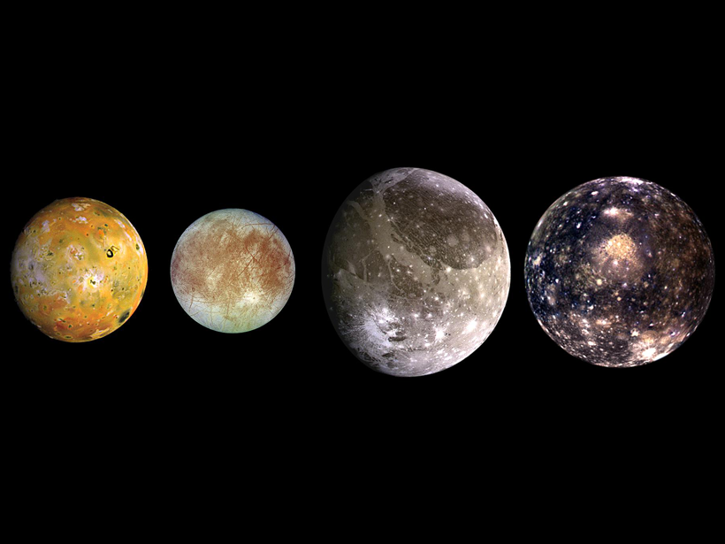 Composite satellite images of Jupiter's Galilean moons: Io, Europa, Ganymede, and Callisto