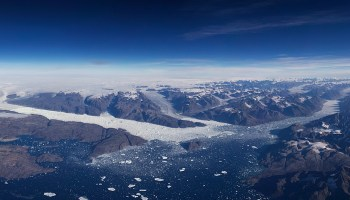 Three glaciers empty into a fjord in Greenland in this September 2016 photo.