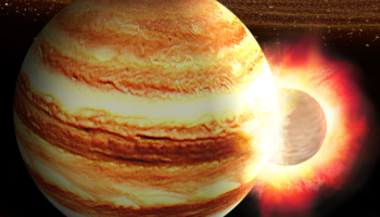 An artist's illustration shows a planet crashing head on into Jupiter, with the young solar system swirling the background.