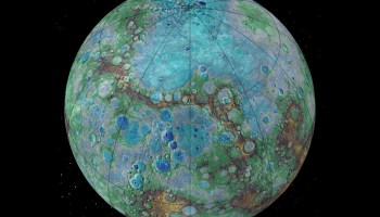 Cratered planet in blues and browns