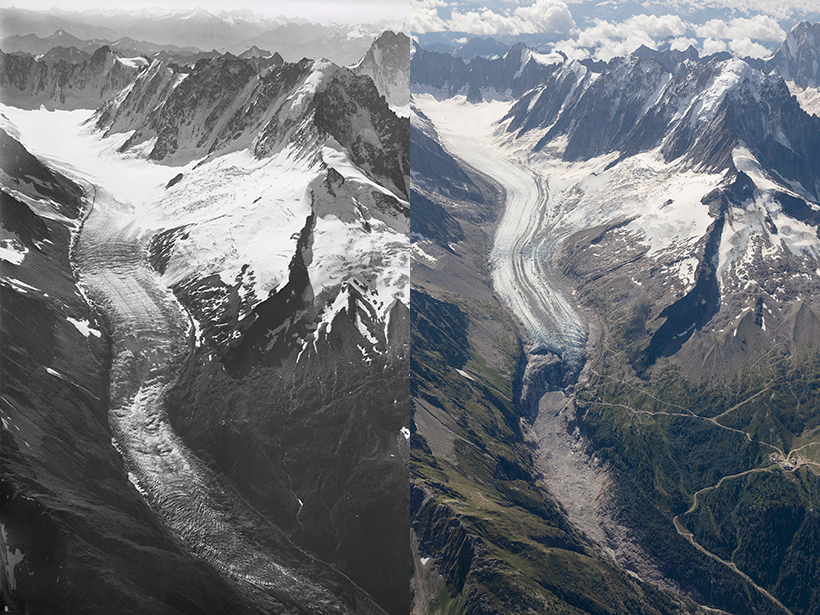 Aerial images of Argentière glacier taken in 1919 and 2019