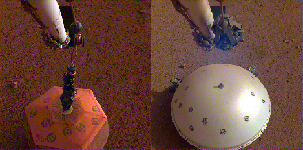Side-by-side image of the SEIS instrument with and without its heat shield on Mars's surface