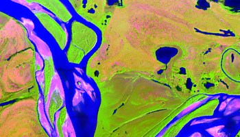 False-color composite image of the landscape near Noatak, Alaska, showing 3 of 425 spectral bands of NASA's AVRIS-NG