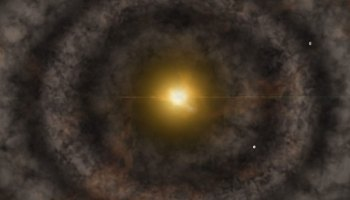 An artist's image of a planetary formation disk, with young planets scooping debris from the rings