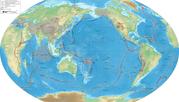 Physical world map showing the tectonic plate boundaries with their movement vectors and selected hot spots