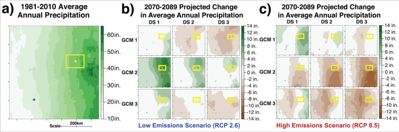 One training activity plotted 1981–2010 average annual precipitation and the projected change in precipitation by 2070–2089.