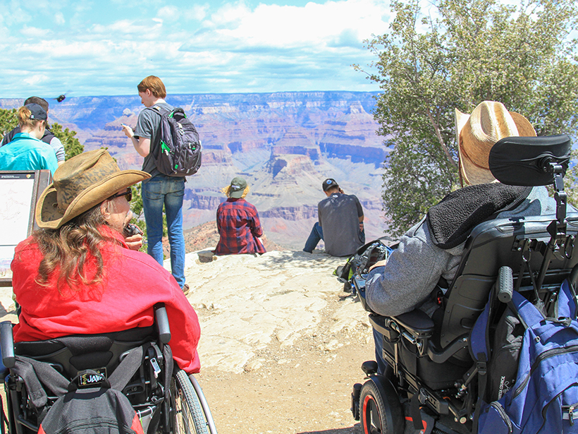 A group participating in an accessible geology field trip to the Grand Canyon.