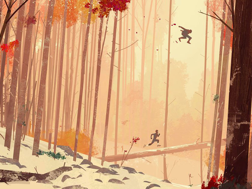 Still of Miles Morales and Peter B. Parker swinging through a forest in Into the Spider-Verse
