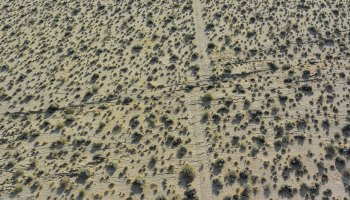 Aerial photo of a desert road offset by 2.5 meters