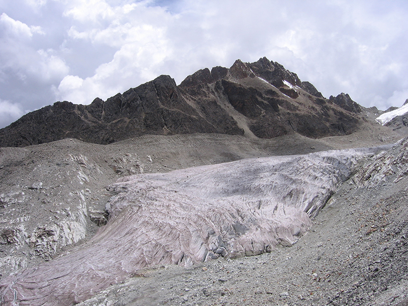 Part of Zongo Glacier on Bolivia's Huayna Potosí, about 25 kilometers north of La Paz, as seen in January 2010