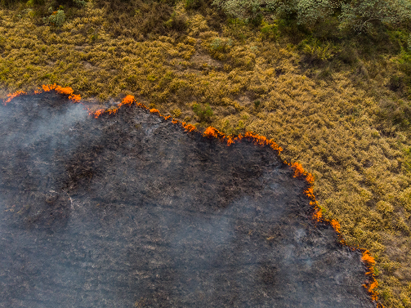 An aerial view of a burning pasture in Brazil
