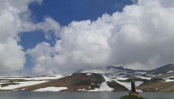 Armenia's Lake Kari sits near the top of Mount Aragats.