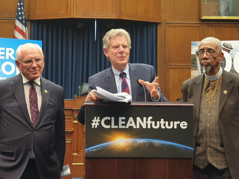 Rep. Paul Tonko, Rep. Frank Pallone, and Rep. Bobby Rush speak at a podium about the CLEAN Future Act
