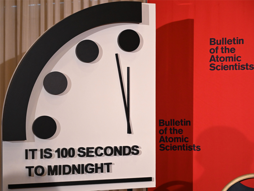 Installation of the Doomsday Clock at 100 seconds to midnight