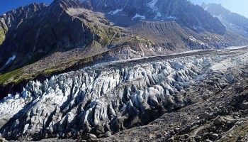 Snout of a mountain glacier with terminal moraine
