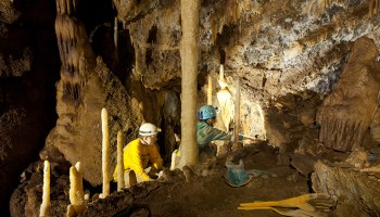 Scientists in hardhats excavate a cave.