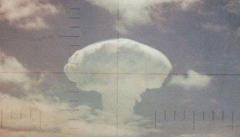 The mushroom cloud of the Frigate Bird nuclear test seen through an aircraft periscope
