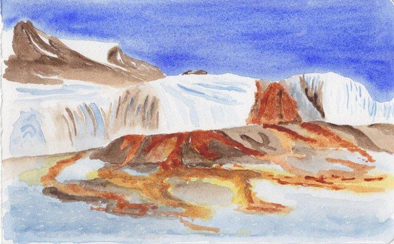 Painting of Blood Falls, Antarctica