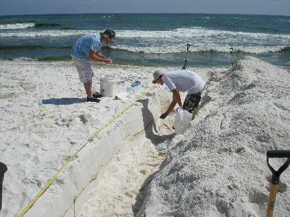 Two men stand in and beside a trench in the sand at Pensacola Beach.