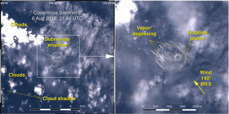 Satellite imagery of the sea surface on 6 August 2019 following the eruption of Volcano F