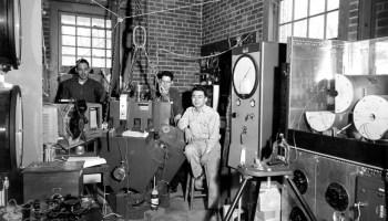 Taro Takahashi (right) and two students in Takahashi's mineral physics laboratory at Alfred University, circa 1960