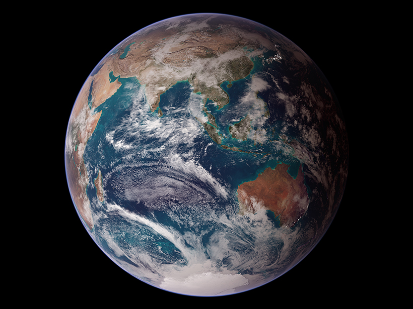 A composite image of the Earth's Eastern Hemisphere