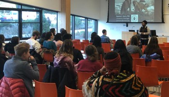 Seminar attendees listen during a presentation at the University of Massachusetts Amherst in fall 2018.