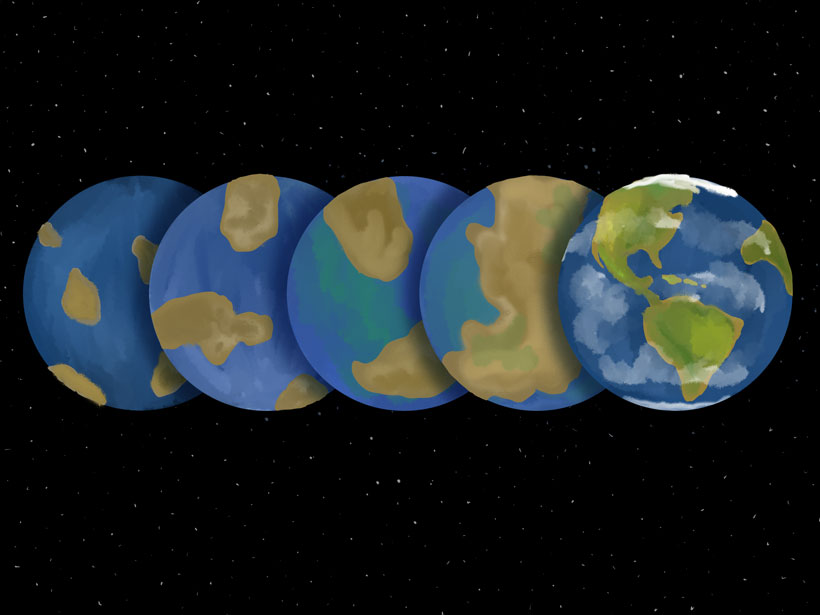 Illustration of the geological evolution of Earth