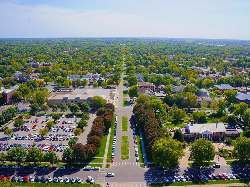 Aerial view of downtown Lincoln, Neb.