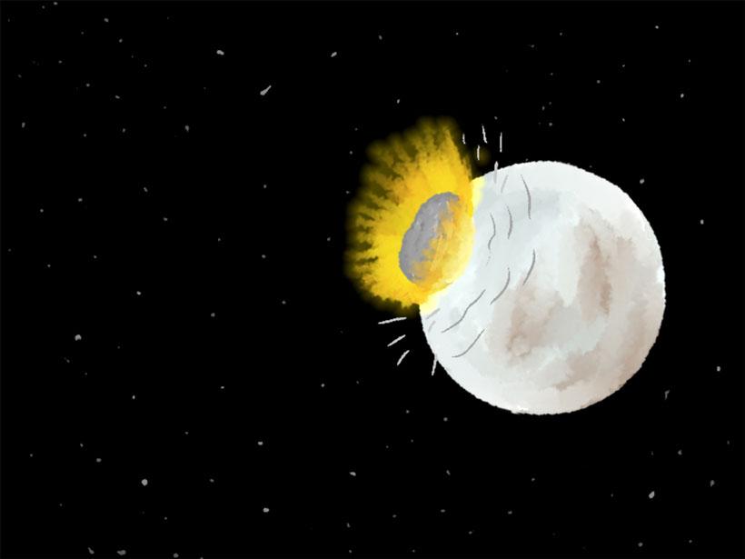 Illustration of an impact on Pluto