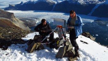 Researchers set up a time-lapse camera on a hilltop overlooking the a tidewater glacier in central West Greenland.