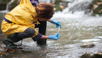 Scientist takes a water sample at a river