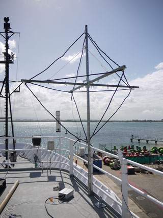 A VLF/LF antenna mounted on the National Oceanic and Atmospheric Administration's R/V Ronald H. Brown