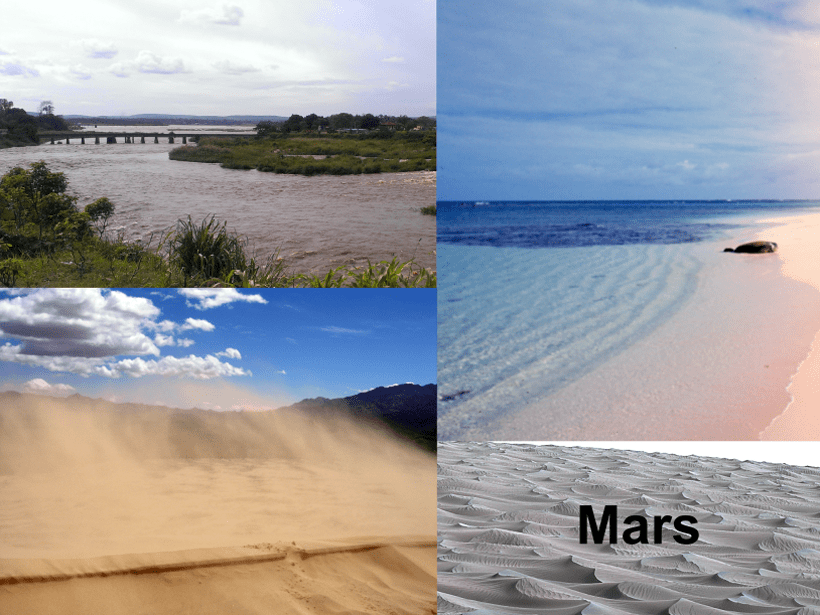 Photographs of different environments in which sediment transport occurs: a river, the coast, and sand dunes.