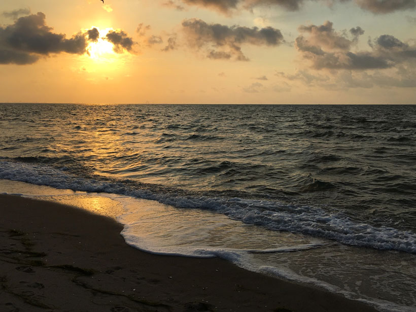Photo of the Gulf of Mexico at sunset off Corpus Christi, Texas