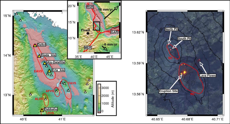 Three maps: East African Rift, Ethiopian volcanoes, and Erta Ale