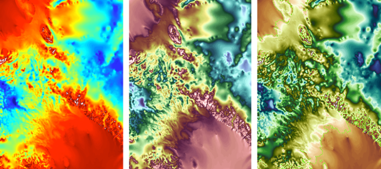 Detail of topography between the Filchner-Ronne and Ross Ice Shelves in West Antarctica shown in three different colormaps