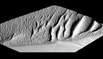 Black-and-white image of the Martian landscape feature Medusae Fossae