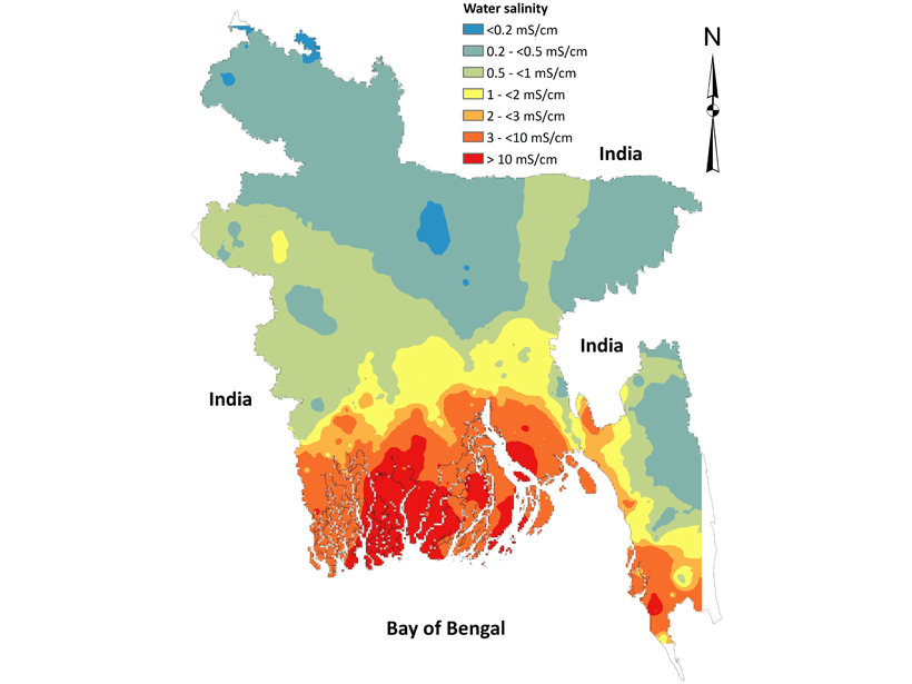 Map of Bangladesh showing levels of drinking water salinity