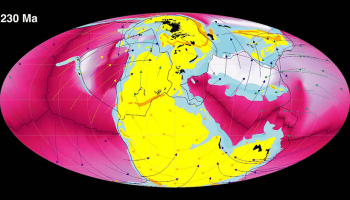 Snapshot from animation frozen on the Pangaea supercontinent in the early Mesozoic