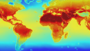 World map showing a climate simulation with hotter forecasts shaded red and cooler forecasts shaded blue