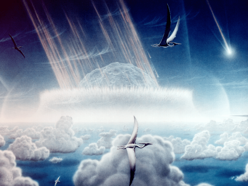 The Chicxulub impact event, framed by fluffy clouds and flying pterosaurs