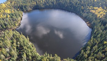 Aerial view of a small lake surrounded by forest