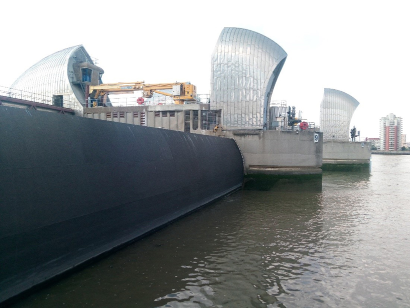 Photograph of the Thames flood barrier in London