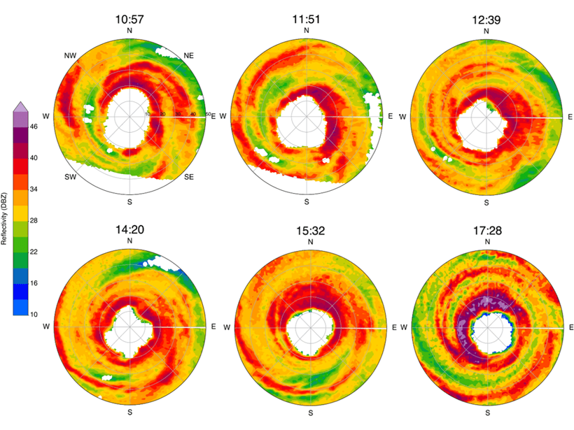 Six sequential radar reflectivity scans of Hurricane Michael as it developed