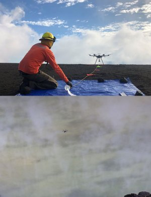 A scientist kneels on a tarp watching a multirotor unoccupied aircraft system (UAS) take off (top); the UAS hovers over the surface of Kīlauea's water lake in October 2019 (bottom)